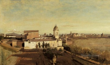 romantic romanticism Painting - Rome the Trinita dei Monti View from the Villa Medici plein air Romanticism Jean Baptiste Camille Corot