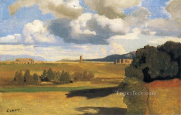romantic romantism Painting - The Roman Campaagna with the Claudian Aqueduct plein air Romanticism Jean Baptiste Camille Corot
