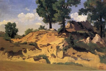 romantic romanticism Painting - Trees and Rocks at La Serpentara plein air Romanticism Jean Baptiste Camille Corot
