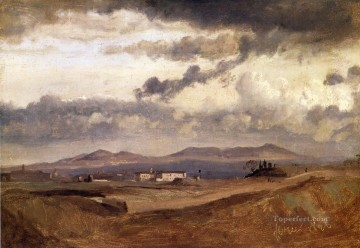 romantic romanticism Painting - View of the Roman Campagna plein air Romanticism Jean Baptiste Camille Corot