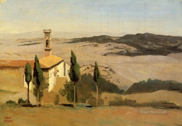 romantic romanticism Painting - Volterra Church and Bell Tower plein air Romanticism Jean Baptiste Camille Corot