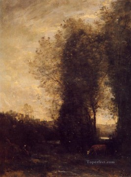romantic romanticism Painting - A Cow and its Keeper plein air Romanticism Jean Baptiste Camille Corot