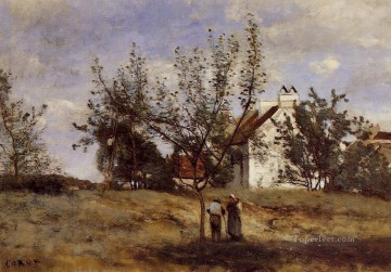 romantic romanticism Painting - An Orchard at Harvest Time plein air Romanticism Jean Baptiste Camille Corot