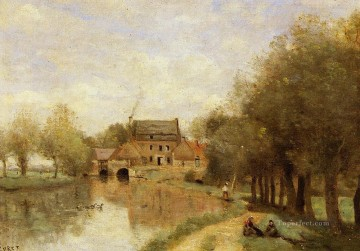 romantic romantism Painting - Arleux du Nord the Drocourt Mill on the Sensee plein air Romanticism Jean Baptiste Camille Corot