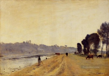 romantic romanticism Painting - Banks of a River plein air Romanticism Jean Baptiste Camille Corot