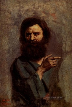 Beard Canvas - Corot Head Of Bearded Man plein air Romanticism Jean Baptiste Camille Corot