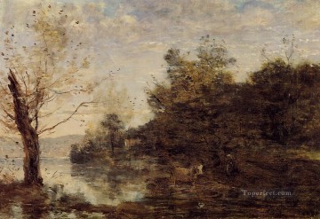 romantic romanticism Painting - Cowherd by the Water plein air Romanticism Jean Baptiste Camille Corot