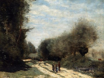 romantic romanticism Painting - Crecy en Brie Road in the Country plein air Romanticism Jean Baptiste Camille Corot