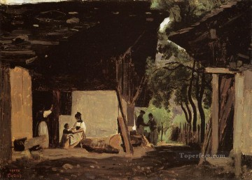 romantic romanticism Painting - Entrance to a Chalet in the Bernese Oberland plein air Romanticism Jean Baptiste Camille Corot