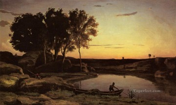 Romantic Painting - Evening Landscape aka The Ferryman Evening plein air Romanticism Jean Baptiste Camille Corot