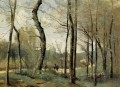 First Leaves near Nantes plein air Romanticism Jean Baptiste Camille Corot
