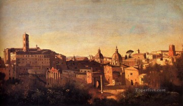 romantic romanticism Painting - Forum Viewed From The Farnese Gardens plein air Romanticism Jean Baptiste Camille Corot