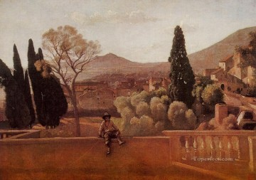 romantic romantism Painting - Gardens of the Villa dEste at Tivoli plein air Romanticism Jean Baptiste Camille Corot