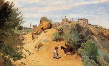 romantic romanticism Painting - Genzano Goatherd and Village plein air Romanticism Jean Baptiste Camille Corot