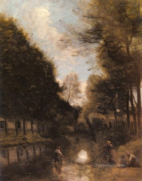 Gisors Riviere Bordee D arbres plein air Romanticism Jean Baptiste Camille Corot Oil Paintings