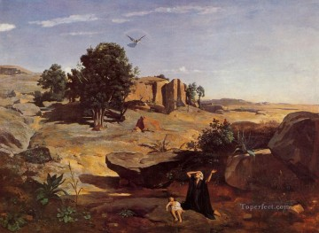 romantic romantism Painting - Hagar in the Wilderness plein air Romanticism Jean Baptiste Camille Corot