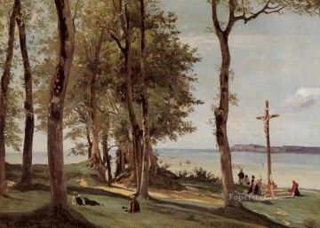 romantic romantism Painting - Honfleur Calvary on the Cote de Grace plein air Romanticism Jean Baptiste Camille Corot