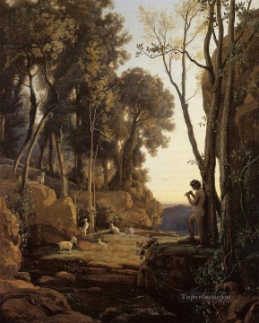 Sun Oil Painting - Landscape Setting Sun aka The Little Shepherd plein air Romanticism Jean Baptiste Camille Corot