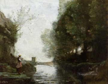 Le cours deau a la tour carree plein air Romanticism Jean Baptiste Camille Corot Oil Paintings