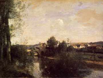 romantic romantism Painting - Old Bridge at Limay on the Seine plein air Romanticism Jean Baptiste Camille Corot