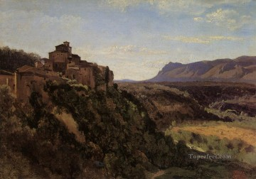 romantic romantism Painting - Papigno Buildings Overlooking the Valley plein air Romanticism Jean Baptiste Camille Corot