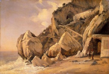 Rocks Painting - Rocks in Amalfi plein air Romanticism Jean Baptiste Camille Corot