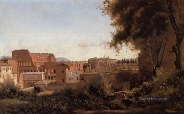 romantic romantism Painting - Rome View from the Farnese Gardens Noon aka Study of the Coliseum plein air Romanticism Jean Baptiste Camille Corot