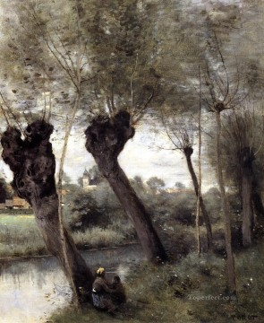 romantic romantism Painting - Saint Nicholas les Arras Willows on the Banks of the Scarpe plein air Romanticism Jean Baptiste Camille Corot
