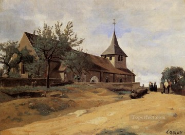 The Church at Lormes plein air Romanticism Jean Baptiste Camille Corot Oil Paintings