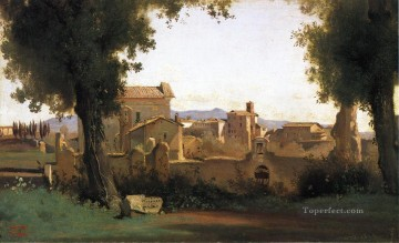 romantic romanticism Painting - View in the Farnese Gardens plein air Romanticism Jean Baptiste Camille Corot