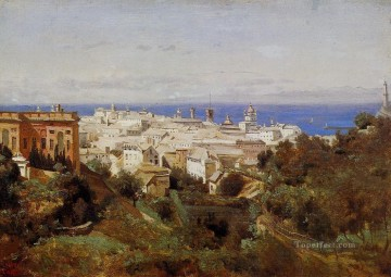 romantic romantism Painting - View of Genoa from the Promenade of Acqua Sola plein air Romanticism Jean Baptiste Camille Corot