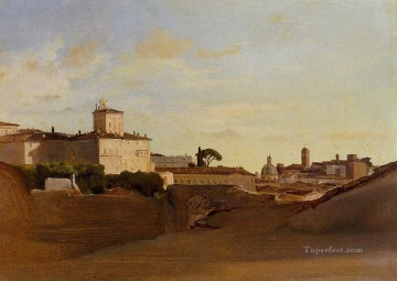 Italy Works - View of Pincio Italy plein air Romanticism Jean Baptiste Camille Corot