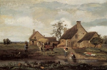 A Farm in the Nievre plein air Romanticism Jean Baptiste Camille Corot Oil Paintings