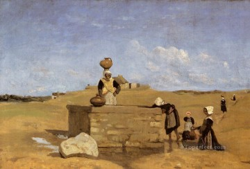 romantic romantism Painting - Breton Women at the Fountain plein air Romanticism Jean Baptiste Camille Corot