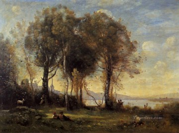 romantic romantism Painting - Goatherds on the Borromean Islands plein air Romanticism Jean Baptiste Camille Corot