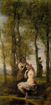 Romantic Works - Le Toilette aka Landscape with Figures plein air Romanticism Jean Baptiste Camille Corot
