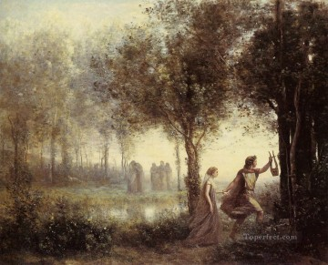 romantic romantism Painting - Orpheus Leading Eurydice from the Underworld plein air Romanticism Jean Baptiste Camille Corot
