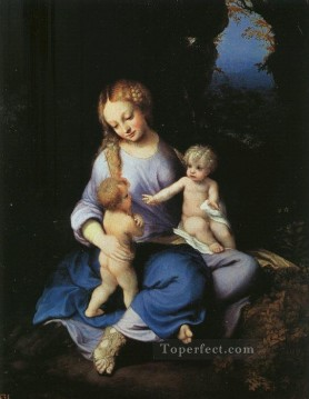 Antonio da Correggio Painting - Madonna And Child With The Young Saint John Renaissance Mannerism Antonio da Correggio