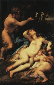 Cupid Works - Venus And Cupid With A Satyr Renaissance Mannerism Antonio da Correggio