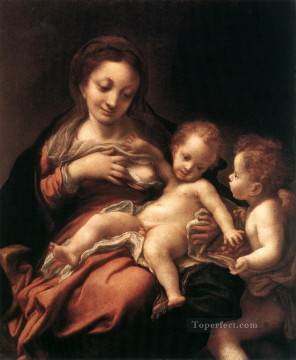 Antonio da Correggio Painting - Virgin And Child With An Angel Renaissance Mannerism Antonio da Correggio