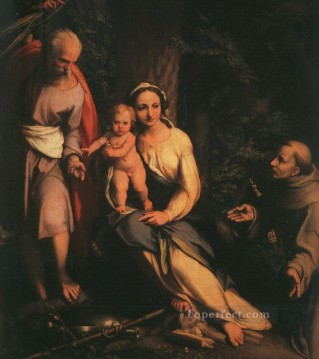 Antonio da Correggio Painting - The Rest On The Flight To Egypt With Saint Francis Renaissance Mannerism Antonio da Correggio