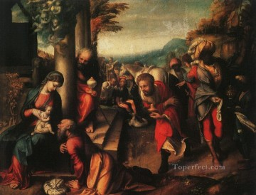 Antonio da Correggio Painting - The Adoration Of The Magi Renaissance Mannerism Antonio da Correggio