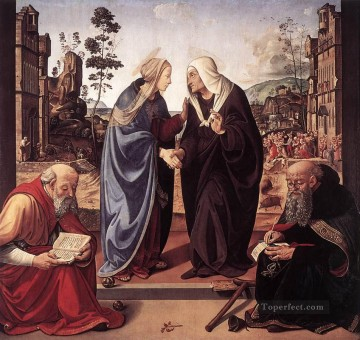 Piero di Cosimo Painting - The Visitation with Sts Nicholas and Anthony 1489 Renaissance Piero di Cosimo