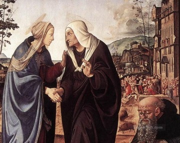 Piero di Cosimo Painting - The Visitation with Sts Nicholas and Anthony 1489 dt1 Renaissance Piero di Cosimo