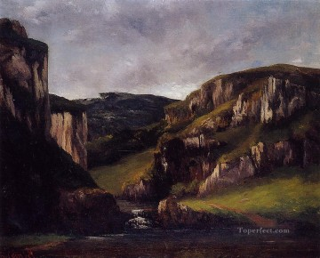 Cliffs Art - Cliffs near Ornans Realist painter Gustave Courbet