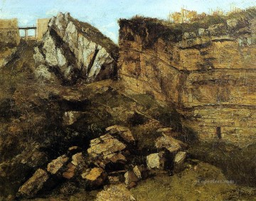 Crumbling Rocks Realist painter Gustave Courbet Oil Paintings