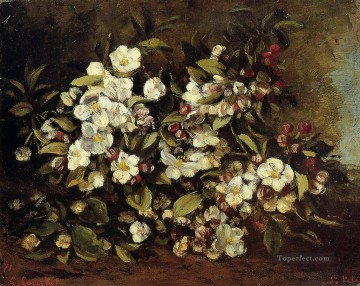 realism realist Painting - Flowering Apple Tree Branch Realist Realism painter Gustave Courbet