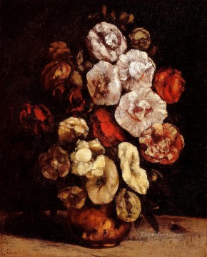 realism realist Painting - Hollyhocks In A Copper Bowl Realist Realism painter Gustave Courbet
