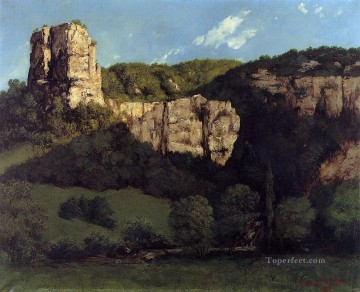 realism painting - Landscape Bald Rock in the Valley of Ornans Realist Realism painter Gustave Courbet