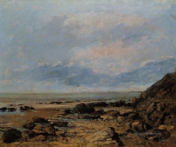 Shore Painting - Rocky Seashore Realist painter Gustave Courbet